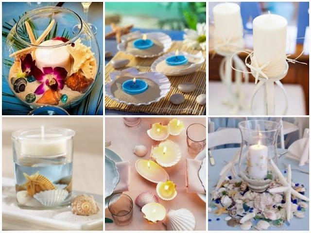 Centros de mesa para Casamentos na Praia