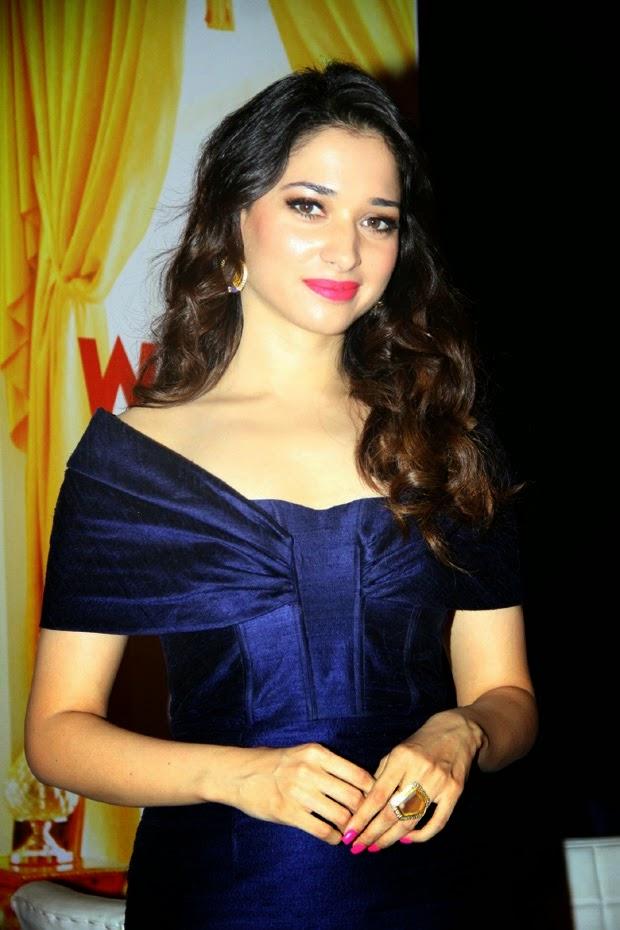 Tamannaah Bhatia In Blue Dress At Movie Trailer Launch