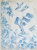 Antique Farmhouse Decorator Paper Blue & White