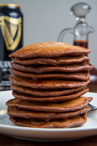 Bacon Guinness Chocolate Pancakes with a Frothy Whipped Cream Head, Guinness Chocolate Syrup