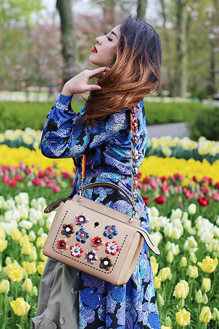Taking the Fendi 'Fashion Show Dot Com' handbag from the new Flowerland Spring/ Summer 2016 Collection for a spin at Keukenhof gardens, The Netherlands.