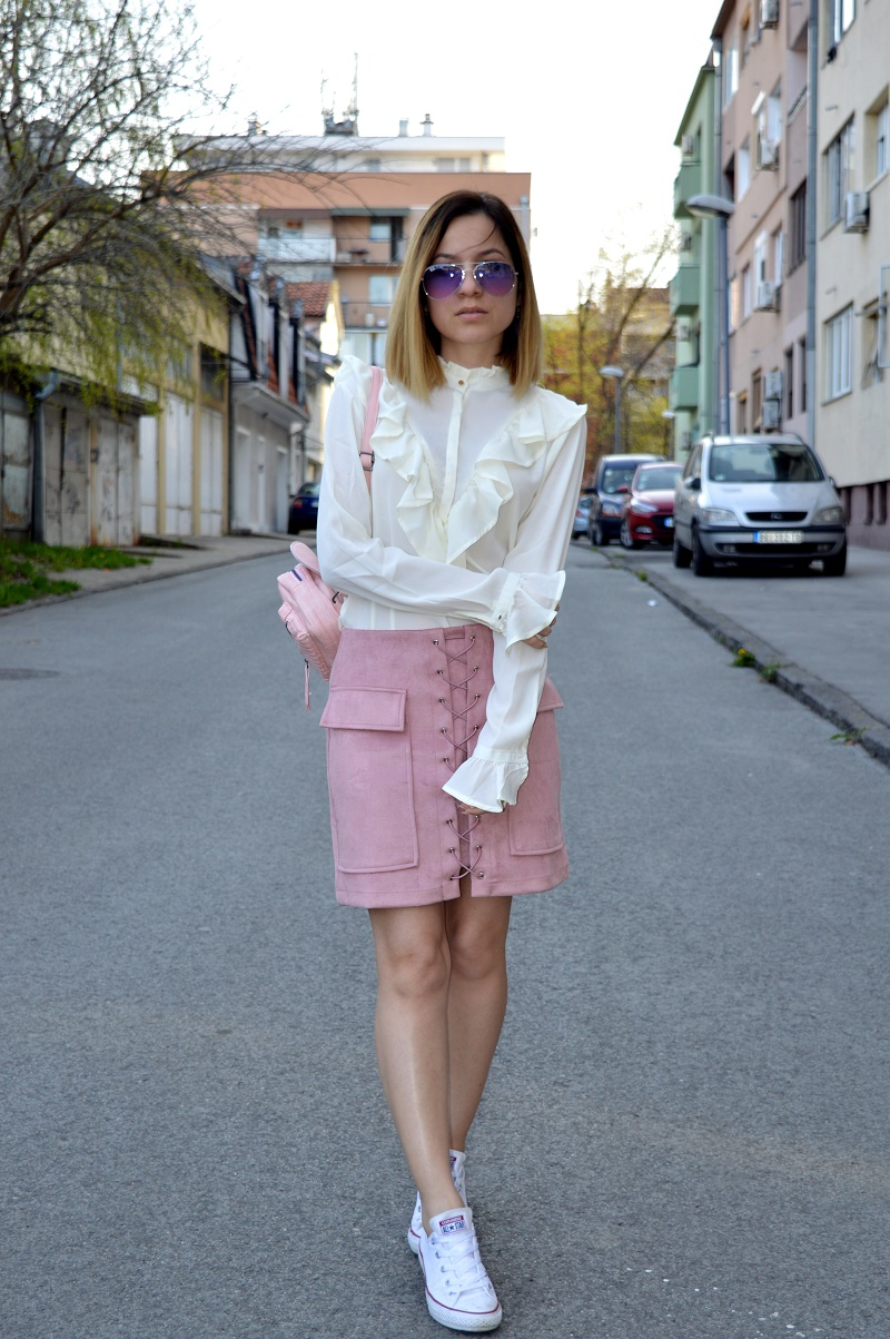 lace up skirt and ruffles