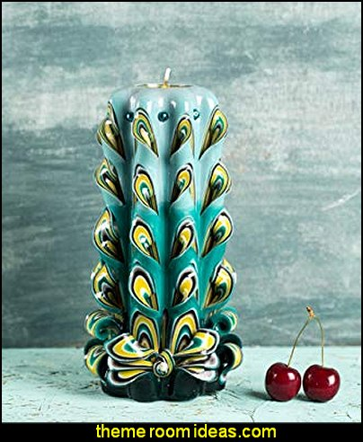 Big Peacock Tail Feather - Decorative Carved Candle