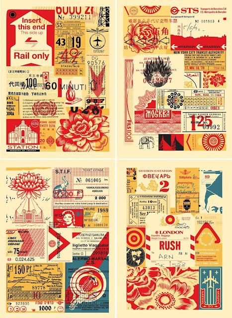 "Obey Giant ""Station to Station"" Large Format Screen Print Series by Shepard Fairey - Station to Station 1, 2, 3 & 4"