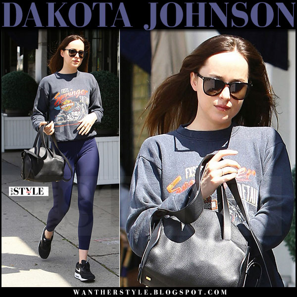Dakota Johnson in blue leggings, black nike sneakers with black bag what she wore april 2017