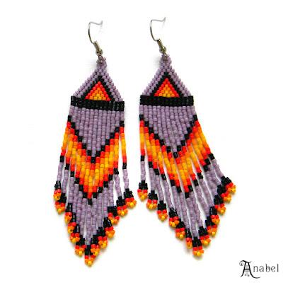 купить яркие этнические серьги из бисера индейские украшения