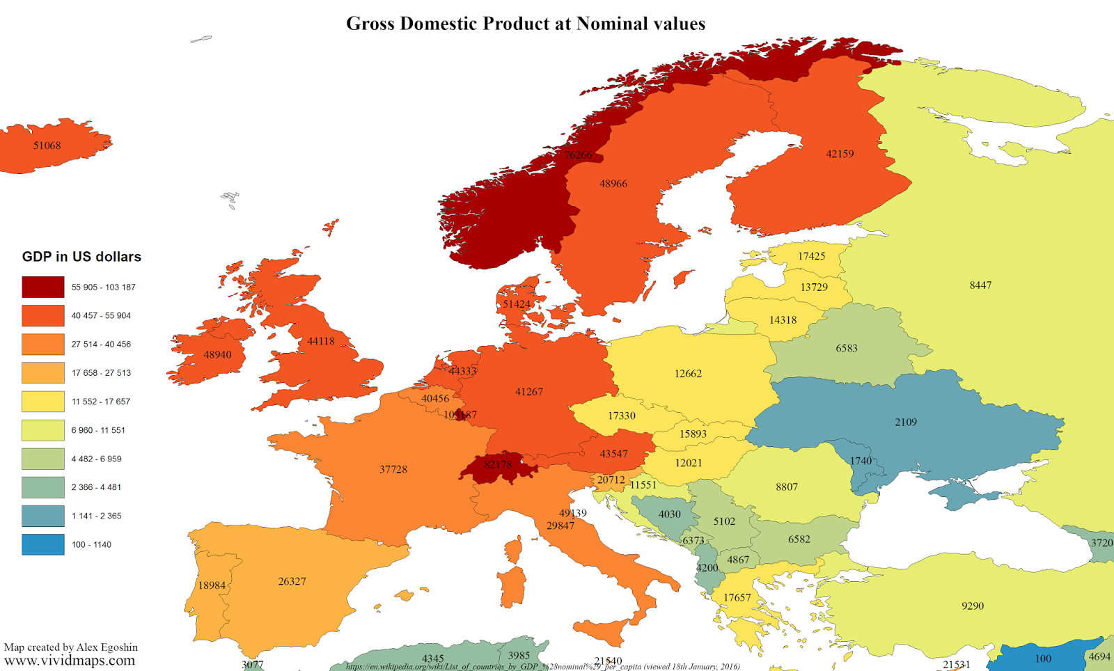 Gross Domestic Product at Nominal values (Europe)