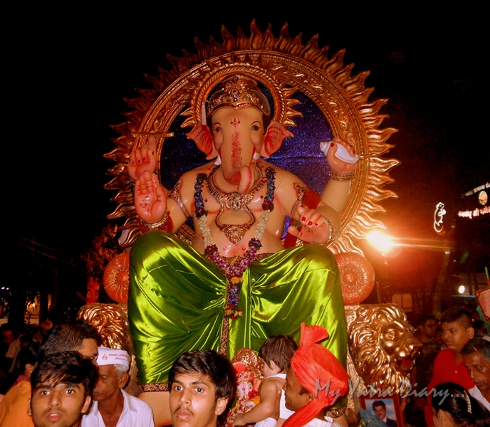 A huge idol of Ganesha off for immersion during the festival of Ganesh Visarjan, Mumbai