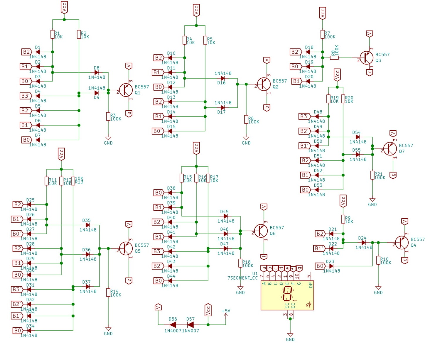 Bcd To 7 Segment Display Decoder Using Diode Logic