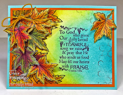 Our Daily Bread Designs, Autumn Blessings, Thankful Song , Honeycomb Background,  Fall Leaves and Acorn Die