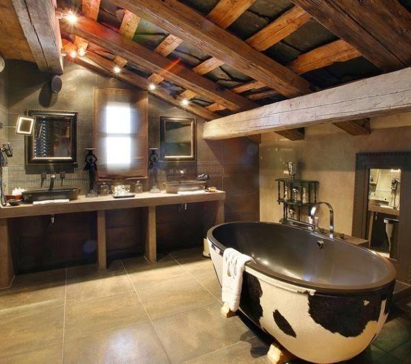 baño rústico paredes