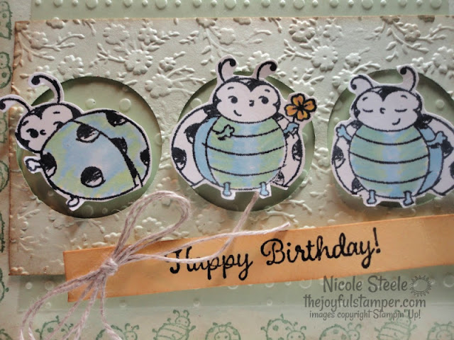 Stampin' Up!'s Sale-A-Bration set Little Ladybug vintage birthday card using Splitcoaststampers Card Sketch 794 | Nicole Steele the Joyful Stamper