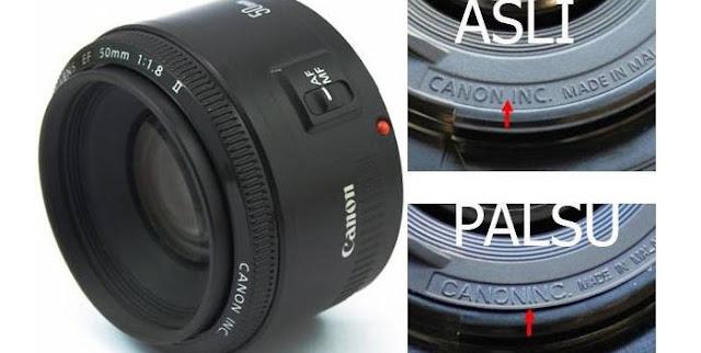Canon EF 50mm F1.8 II asli dan palsu