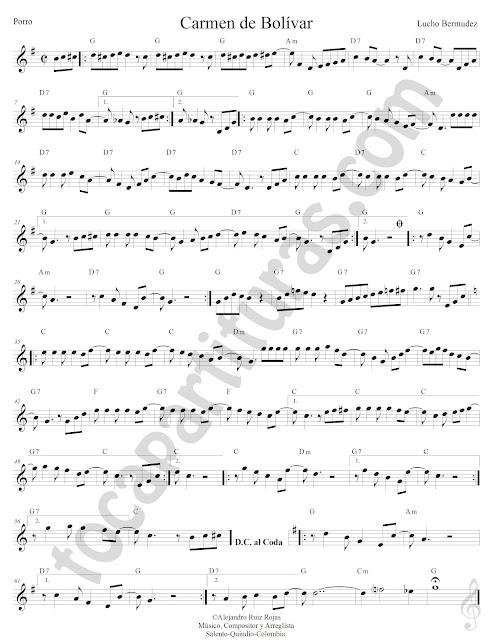 Carmen de Bolívar Porro de Lucho Bermúdez Partitura Fácil con Acordes Carmen de Bolívar Easy Sheet Music with Chords