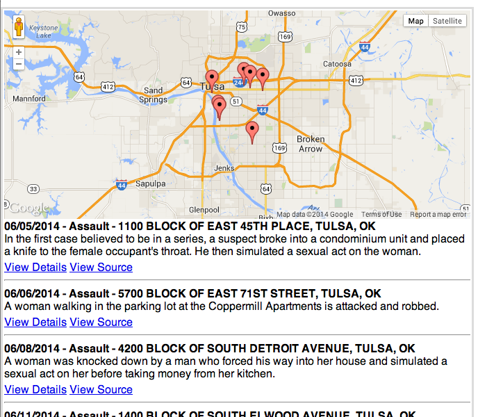 Crime List of Serial Sexual Assaults in Tulsa, OK | SpotCrime - The