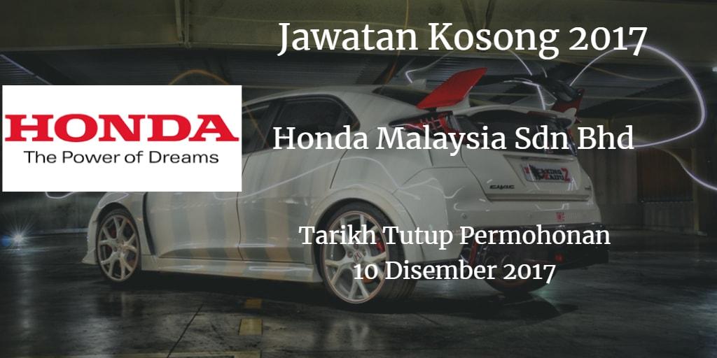 Jawatan Kosong Honda Malaysia Sdn Bhd 10 Disember 2017