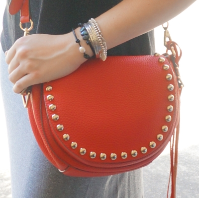 silver and pearl Tiffany and Roie Designs bracelet stack studded red saddle bag | Away From The Blue