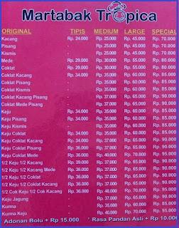 Daftar harga Martabak Enak di Bandung