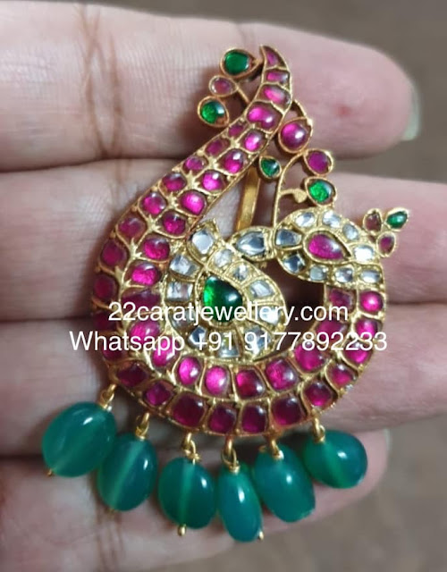 Silver Metal Latest Kundan Pendant Sets