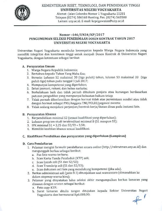 Rekrumen 34 Dosen Kontrak Universitas Negeri