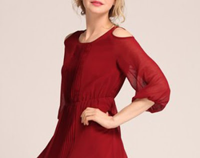 Shoulder cutout trend - Wine Red A-line Balloon Sleeve Folds Midi Dress from LD-Price:$92.00