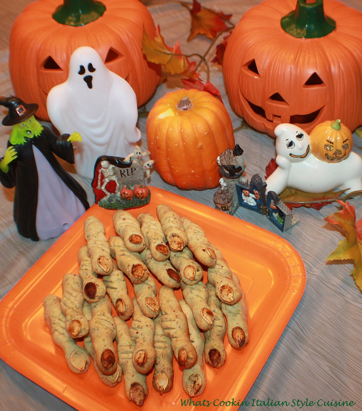 Halloween Pistachio Witches Finger Cookies scary crooked pistachio cookies buttery pistachio green tasty cookies for a ghoulish Halloween trick or treat