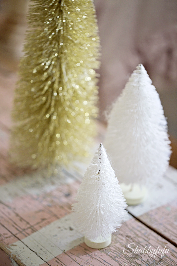 gold and white bottle brush trees