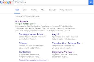 contoh sitelink blog dari google