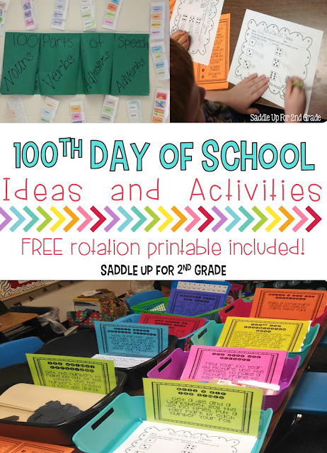 Are you looking for easy print and go activities for the 100th day of school? This blog post is full of ideas that you can implement in your classroom to make your day successful. You can also grab a free printable rotation posters too!