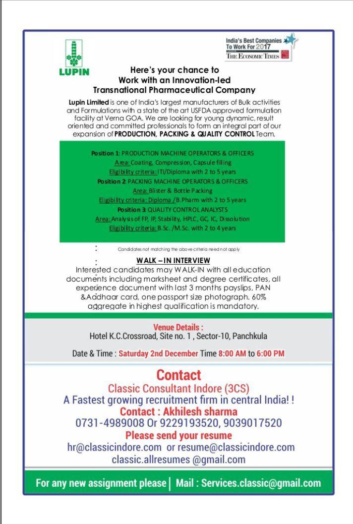 Pharma Vacancy: Walk in for Lupin in Panchkula on 2nd Dec 2017