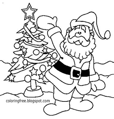 Joyful winter wallpaper comic strip drawing Santa Claus with Christmas tree picture for coloring in