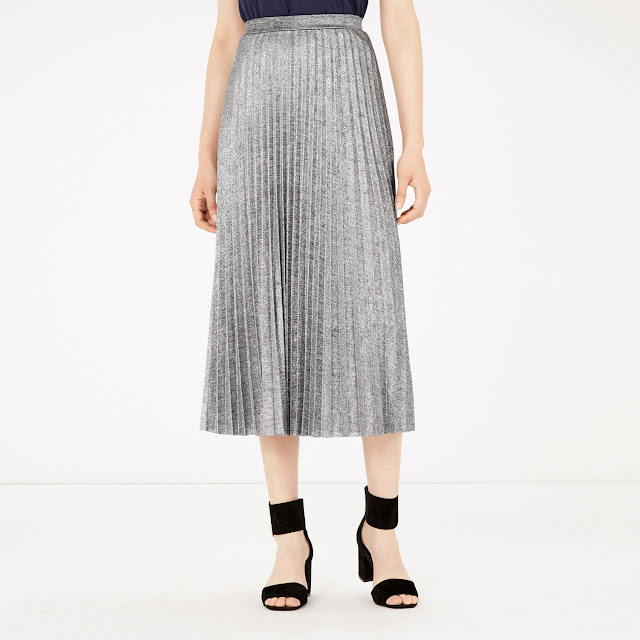 Warehouse metallic plisse midi skirt