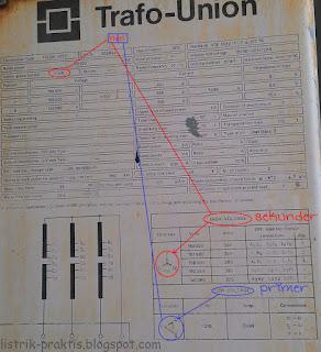 contoh name plate trafo step up YNd5 di pembangkit listrik