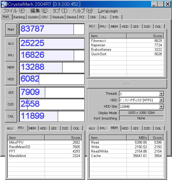 Core2Duo(C2D E7300)ベンチマークCrystalMark2004R7結果