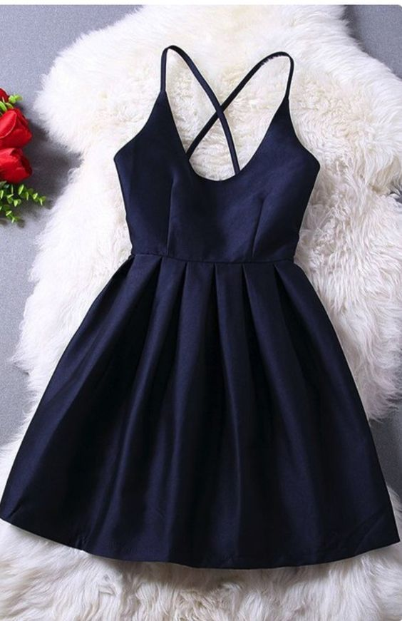 Elegant Navy Blue Homecoming Dress