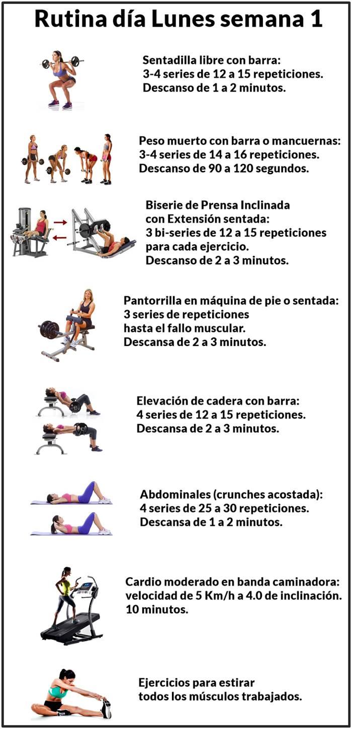 Rutina de entrenamiento para mujeres pierna cola día lunes