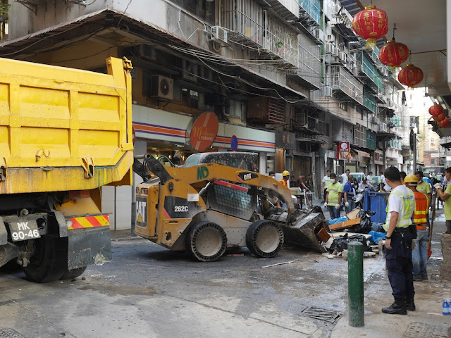 Cleanup from Typhoon Hato on Rua dos Faitioes
