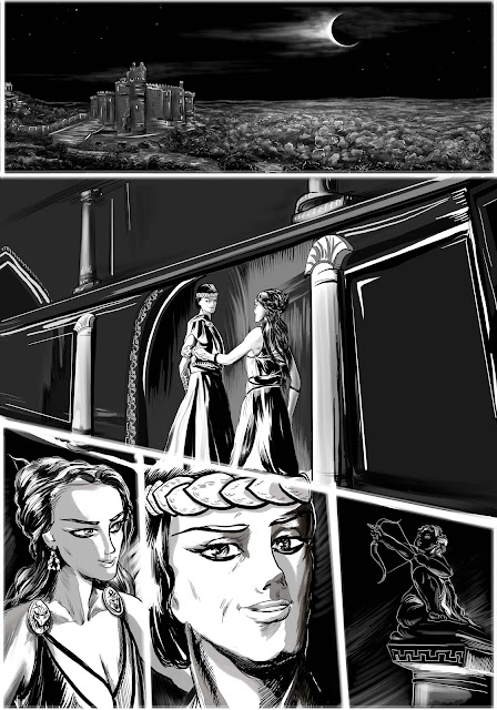 Black and white drawings with Theseus and Hippolyta, Artemis and Callisto