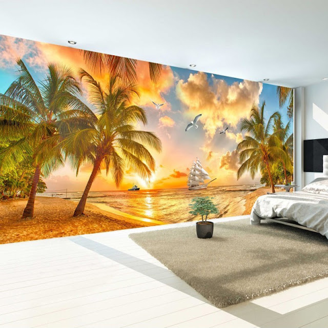 Photo Wallpaper for Bedroom Wall Murals Tropical Beach Palm Tree Sunset
