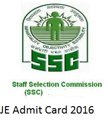 SSC JE Admit Card Download 2016 Hall Ticket