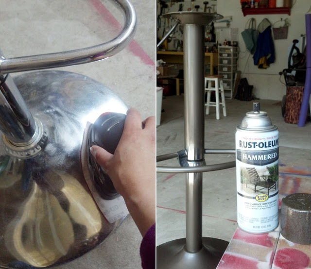 sanding metal parts of bar stools before spray painting it.