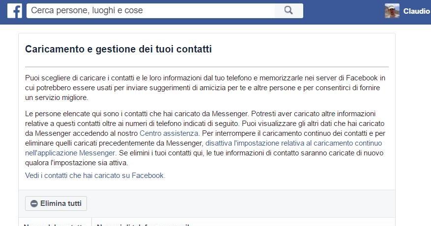 Elimina contatti e numeri condivisi da te su Facebook, anche di non iscritti
