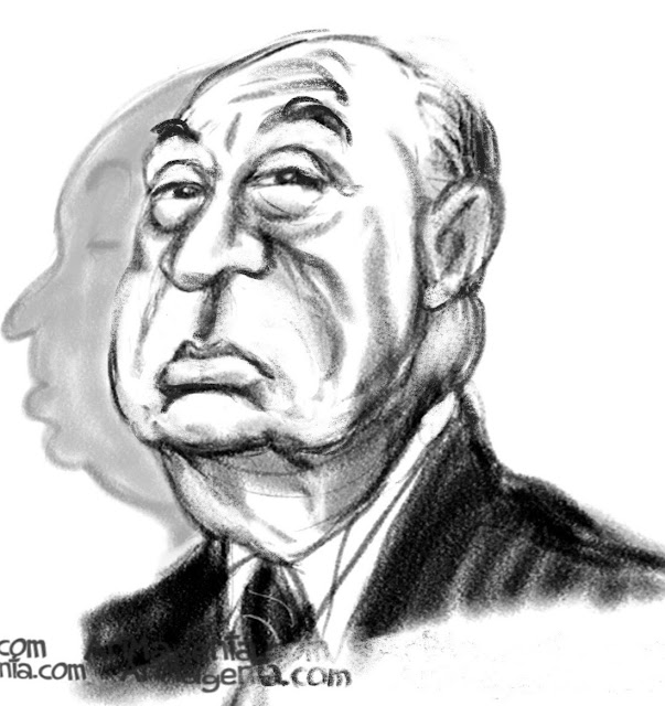 Alfred Hitchcock caricature by Artmagenta