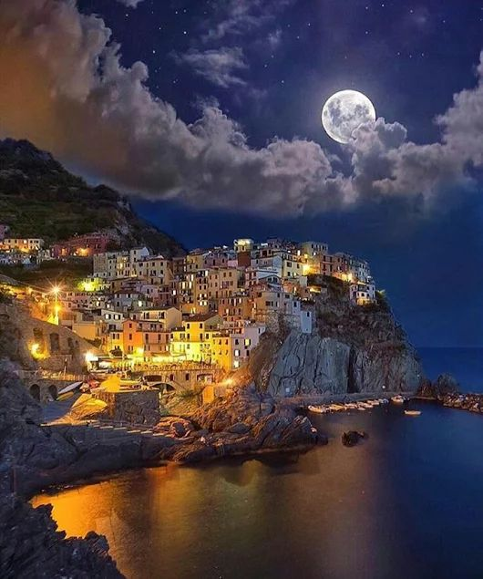 cinque terre on a full moon