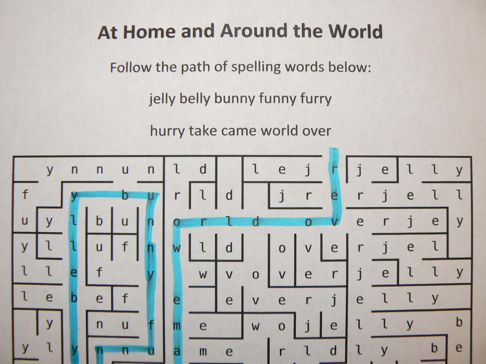 Mrs T S First Grade Class Spelling Word Mazes