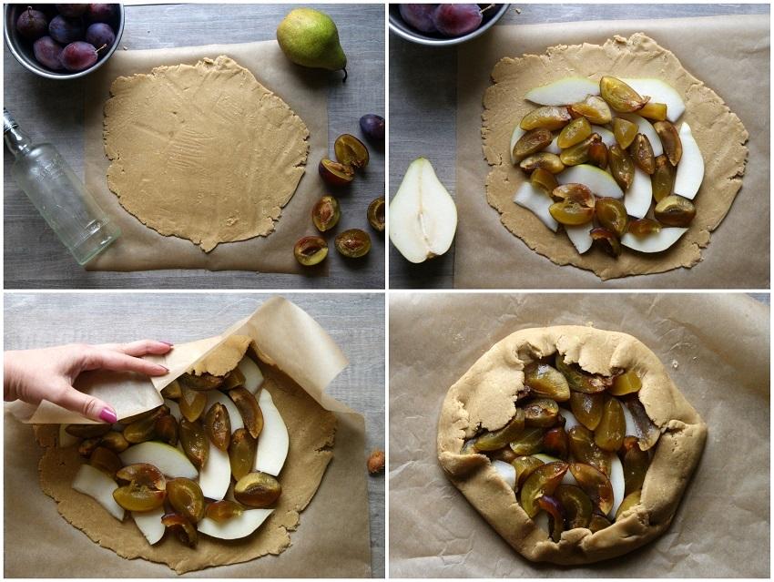 Tarta owsiana z gruszką i śliwkami