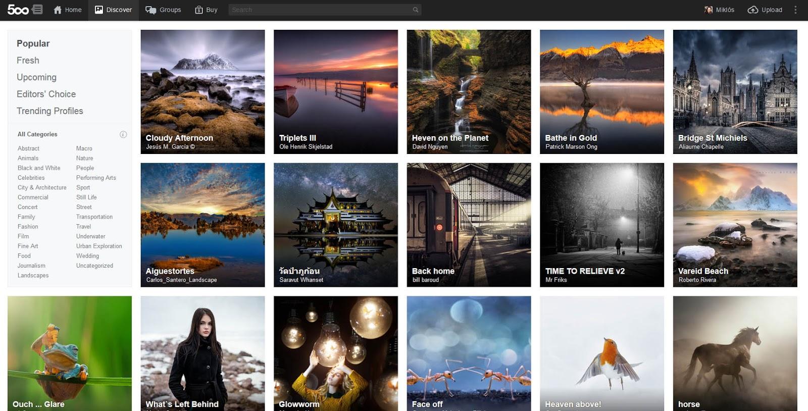 500px popular képek képernyőkép