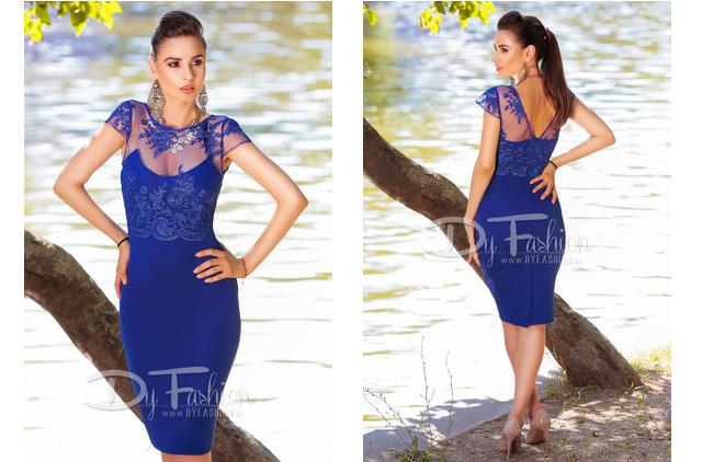 Rochie de seara eleganta midi albastra pentru ocazii de vara