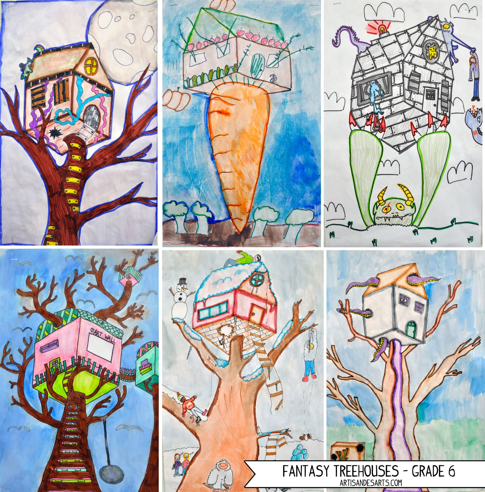 Artisan Des Arts 2 Point Perspective Fantasy Treehouses