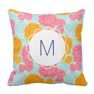 Mother-In-Law Gifts for Mother's Day - Custom Monogram Floral Vibrant Throw Cushion